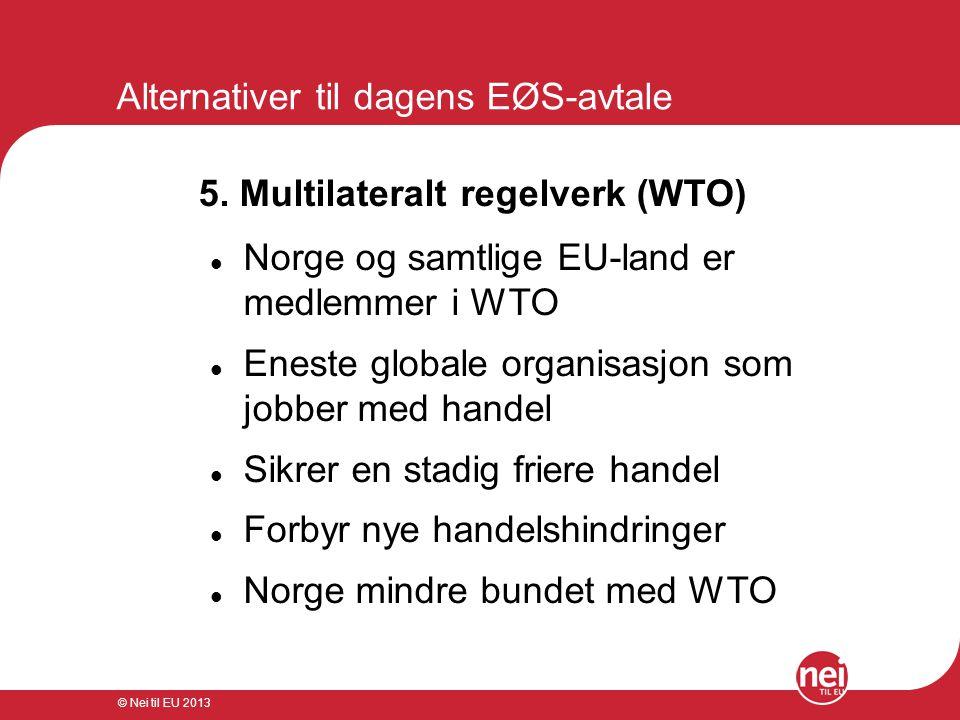 © Nei til EU 2013 Alternativer til dagens EØS-avtale 5. Multilateralt regelverk (WTO)  Norge og samtlige EU-land er medlemmer i WTO  Eneste globale