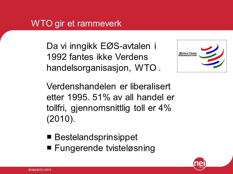 © Nei til EU 2013 WTO gir et rammeverk Da vi inngikk EØS-avtalen i 1992 fantes ikke Verdens handelsorganisasjon, WTO. Verdenshandelen er liberalisert