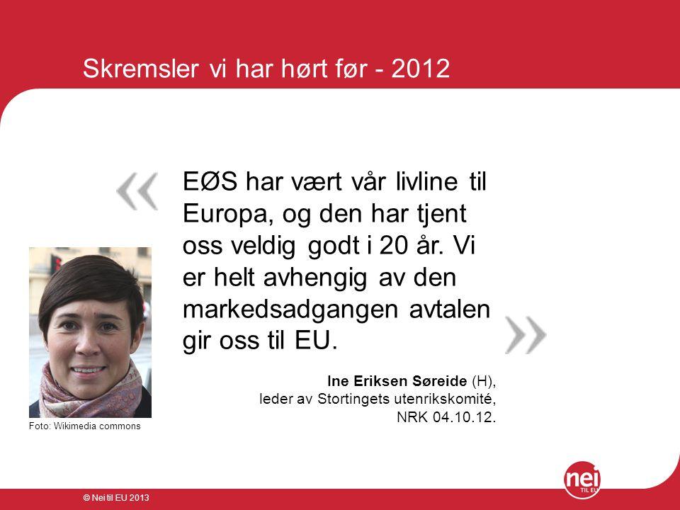 © Nei til EU 2013 Skremsler vi har hørt før - 1994 Tusener av tapte arbeids- plasser i Norge og nye milliardinvesteringer ut av landet.