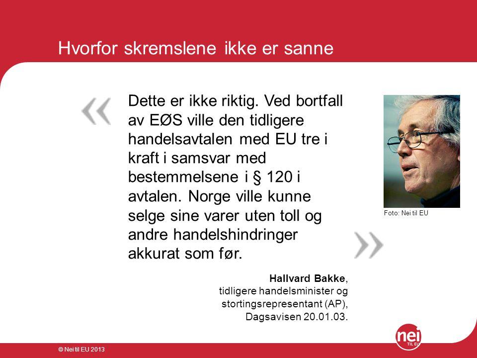 © Nei til EU 2013 Hvorfor skremslene ikke er sanne Jeg tror ikke EU ville ønske å miste noen del av handelen med Norge uten EØS.