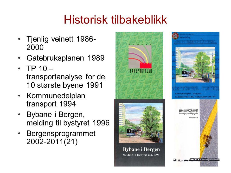 Historisk tilbakeblikk •Tjenlig veinett 1986- 2000 •Gatebruksplanen 1989 •TP 10 – transportanalyse for de 10 største byene 1991 •Kommunedelplan transp