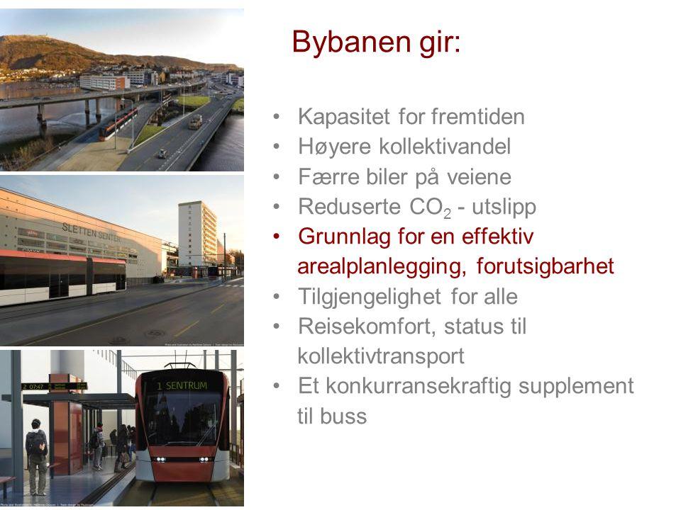 Bybanen gir: •Kapasitet for fremtiden •Høyere kollektivandel •Færre biler på veiene •Reduserte CO 2 - utslipp •Grunnlag for en effektiv arealplanleggi