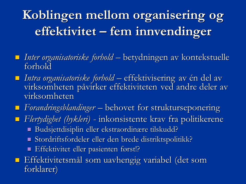 Koblingen mellom organisering og effektivitet – fem innvendinger  Inter organisatoriske forhold – betydningen av kontekstuelle forhold  Intra organi