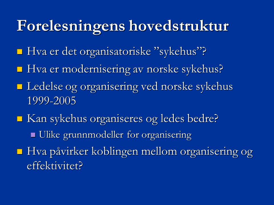 """Forelesningens hovedstruktur  Hva er det organisatoriske """"sykehus""""?  Hva er modernisering av norske sykehus?  Ledelse og organisering ved norske sy"""