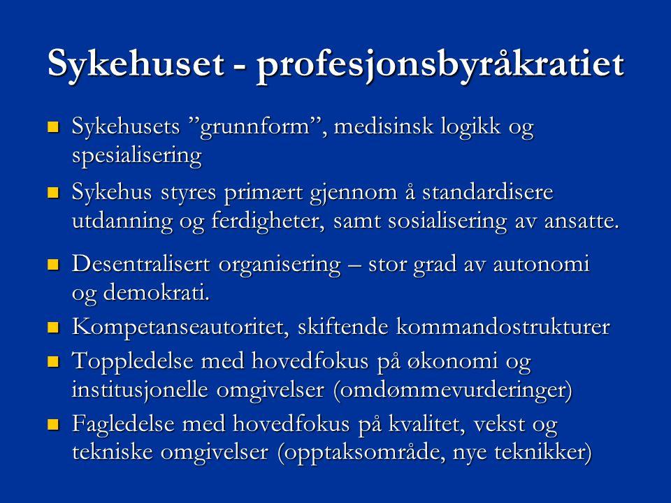 """Sykehuset - profesjonsbyråkratiet  Sykehusets """"grunnform"""", medisinsk logikk og spesialisering  Sykehus styres primært gjennom å standardisere utdann"""