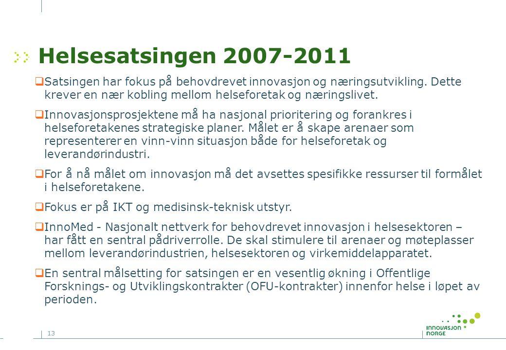 13 Helsesatsingen 2007-2011  Satsingen har fokus på behovdrevet innovasjon og næringsutvikling. Dette krever en nær kobling mellom helseforetak og næ