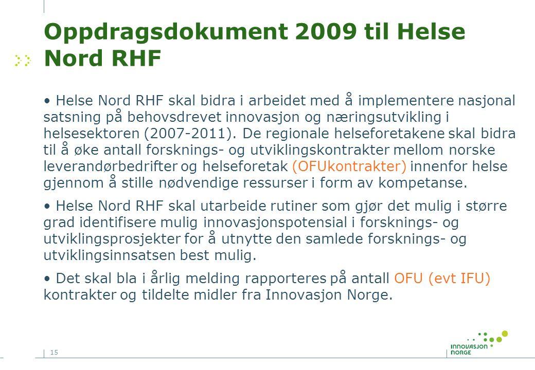 15 Oppdragsdokument 2009 til Helse Nord RHF • Helse Nord RHF skal bidra i arbeidet med å implementere nasjonal satsning på behovsdrevet innovasjon og