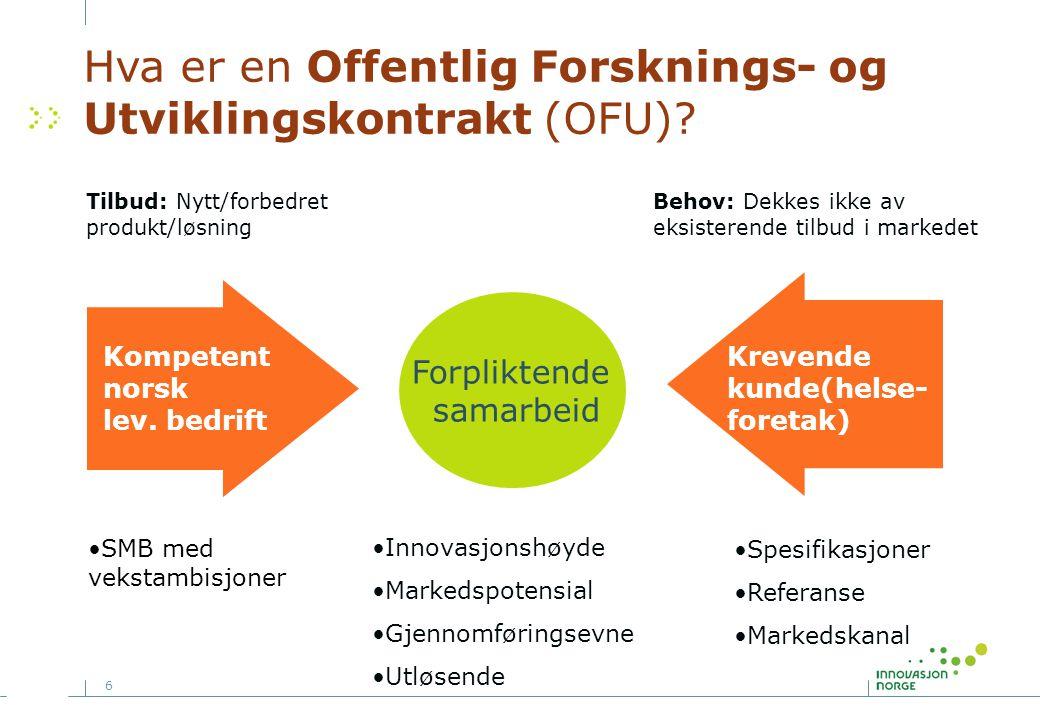 6 Hva er en Offentlig Forsknings- og Utviklingskontrakt (OFU)? Kompetent norsk lev. bedrift Forpliktende samarbeid Tilbud: Nytt/forbedret produkt/løsn