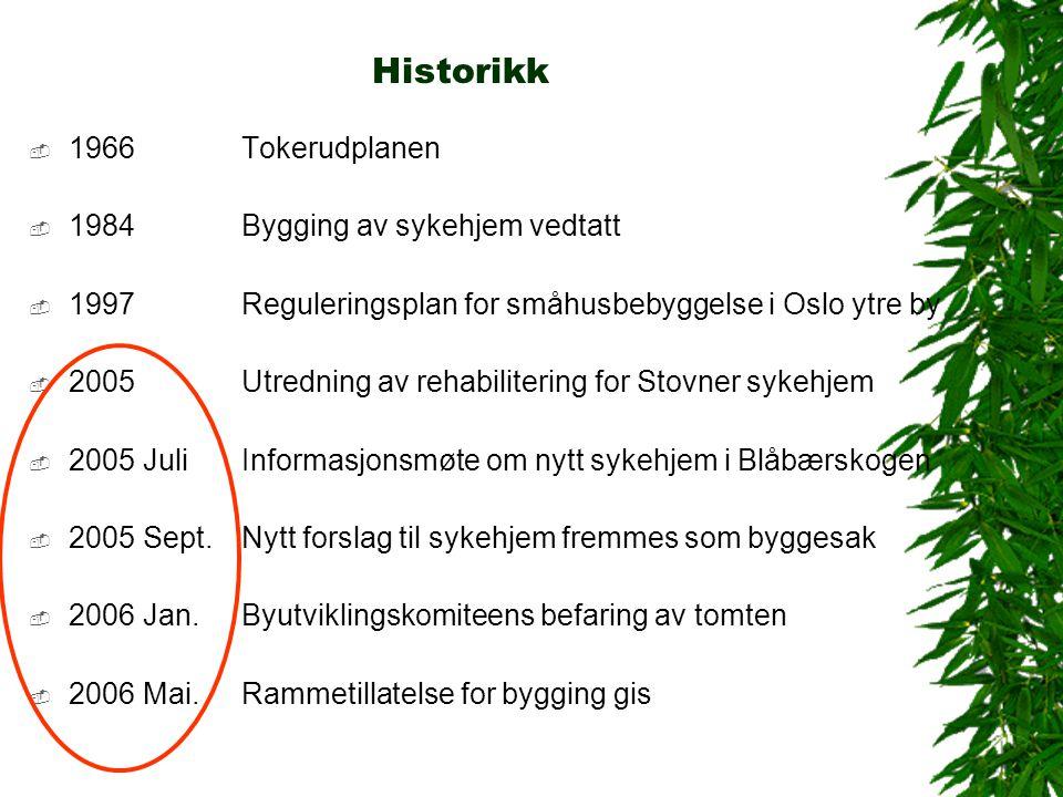 Historikk  1966 Tokerudplanen  1984 Bygging av sykehjem vedtatt  1997 Reguleringsplan for småhusbebyggelse i Oslo ytre by  2005 Utredning av rehab