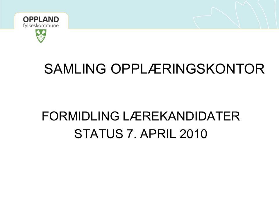 SAMLING OPPLÆRINGSKONTOR FORMIDLING LÆREKANDIDATER STATUS 7. APRIL 2010