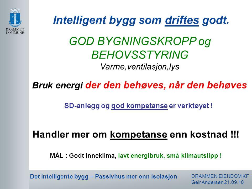DRAMMEN EIENDOM KF Geir Andersen 21.09.10 Det intelligente bygg – Passivhus mer enn isolasjon Handler mer om kompetanse enn kostnad !!! MÅL : Godt inn