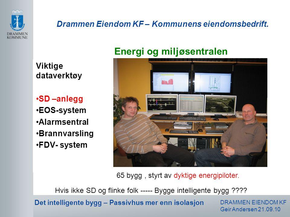 DRAMMEN EIENDOM KF Geir Andersen 21.09.10 Det intelligente bygg – Passivhus mer enn isolasjon Drammen Eiendom KF – Kommunens eiendomsbedrift. Viktige