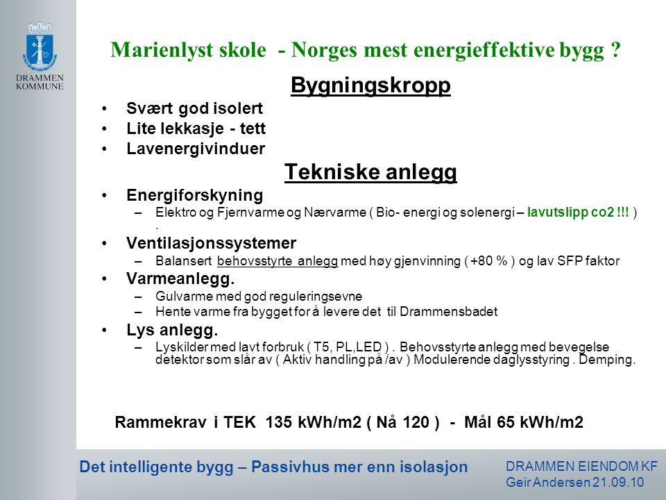 DRAMMEN EIENDOM KF Geir Andersen 21.09.10 Det intelligente bygg – Passivhus mer enn isolasjon Bygningskropp •Svært god isolert •Lite lekkasje - tett •