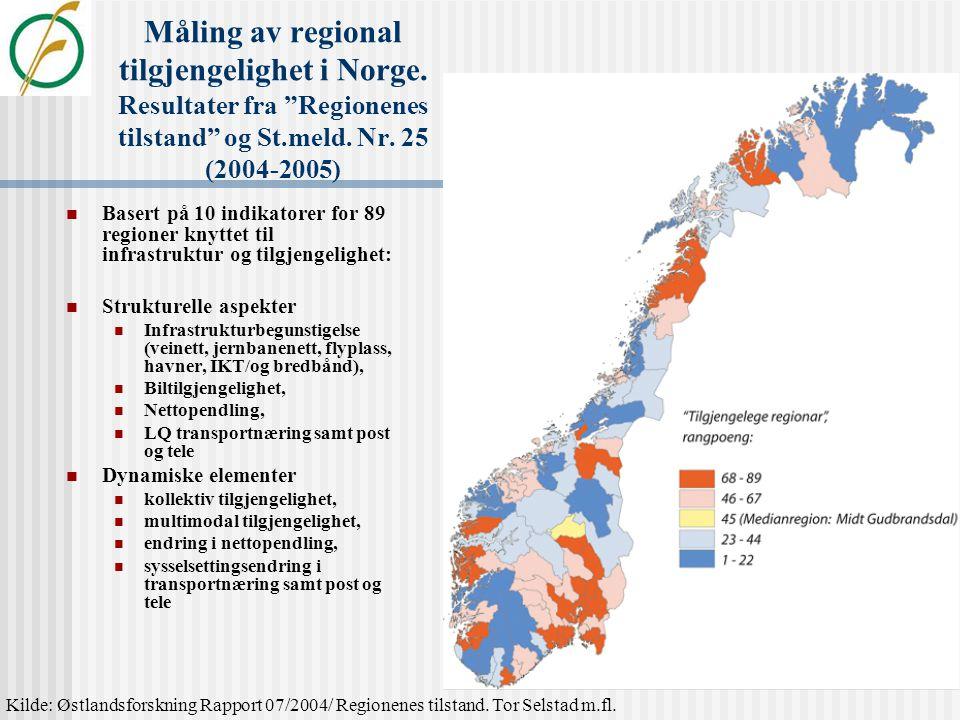 """Måling av regional konkurransekraft i Norge Resultater fra """"Regionenes tilstand"""": Basert på 50 indikatorer for 89 regioner knyttet til bl.a. nivå, str"""