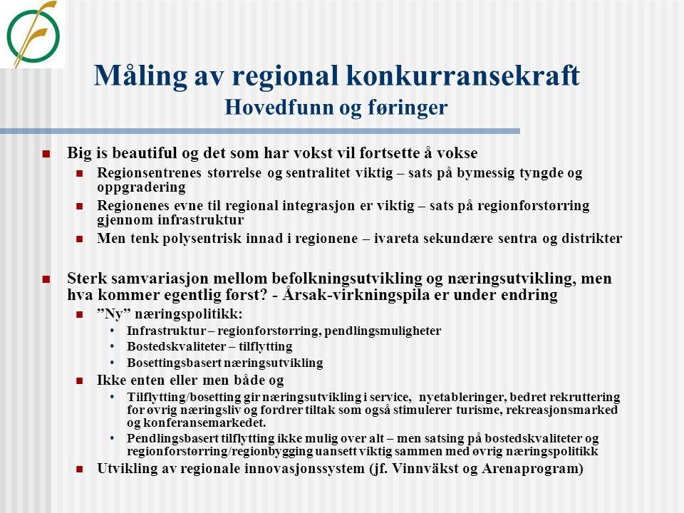 """Måling av regional tilgjengelighet i Norge. Resultater fra """"Regionenes tilstand"""" og St.meld. Nr. 25 (2004-2005)  Basert på 10 indikatorer for 89 regi"""