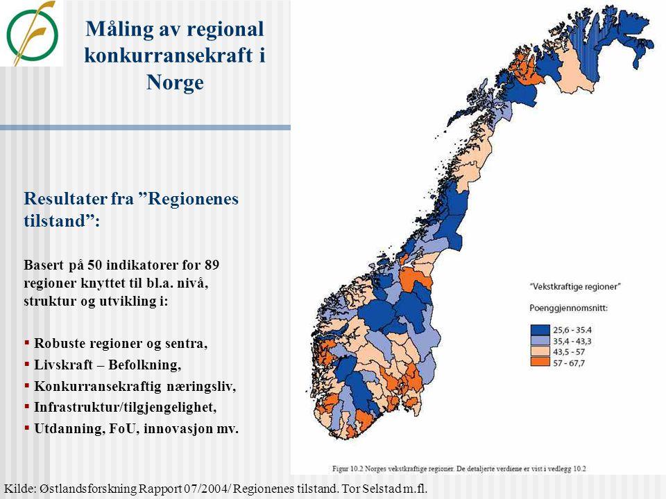Måling av regional konkurransekraft i Sverige Sammensatt av 9 indikatorer:  Etableringsgrad,  Fornyelsesfaktor,  Entreprenørskapsinnstilling,  BRP