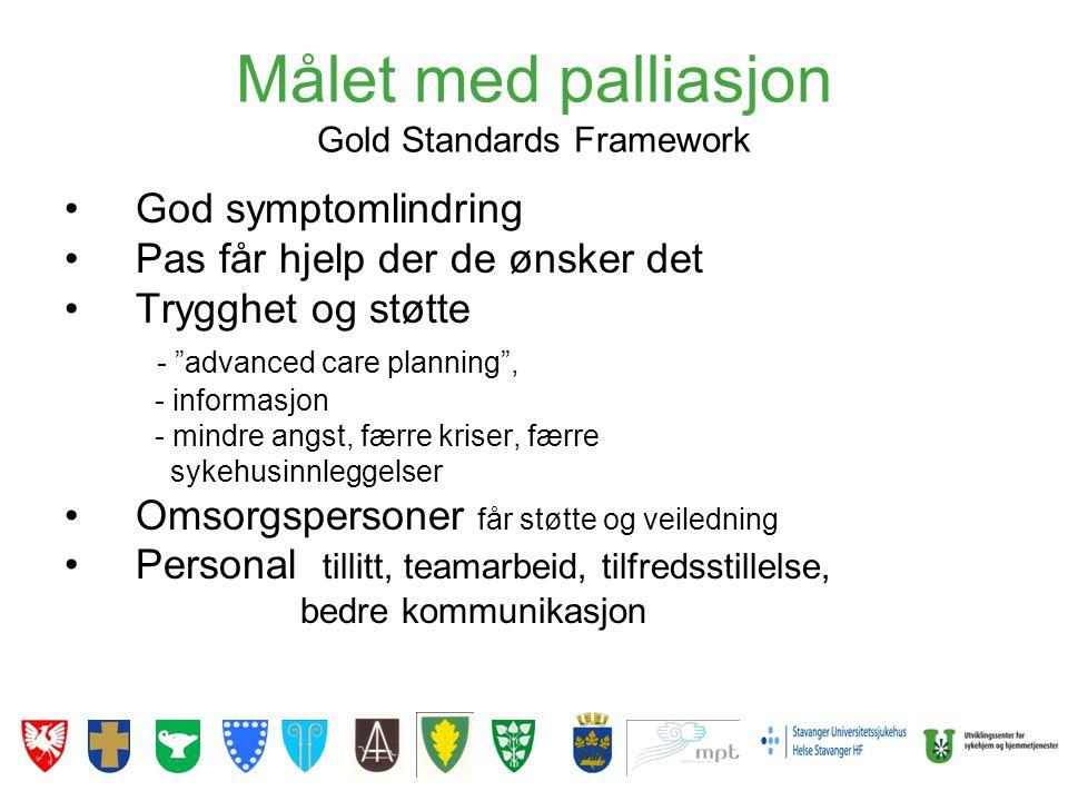 """Målet med palliasjon Gold Standards Framework •God symptomlindring •Pas får hjelp der de ønsker det •Trygghet og støtte - """"advanced care planning"""", -"""