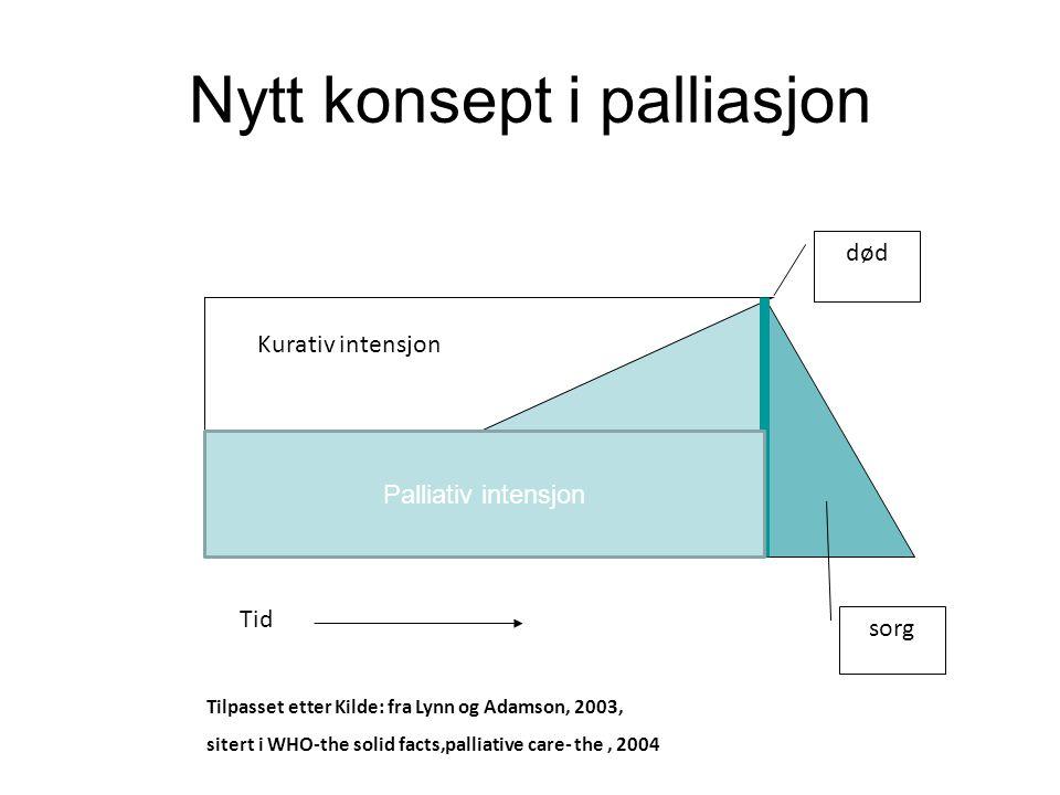 død Nytt konsept i palliasjon Tid sorg Tilpasset etter Kilde: fra Lynn og Adamson, 2003, sitert i WHO-the solid facts,palliative care- the, 2004 Kurat