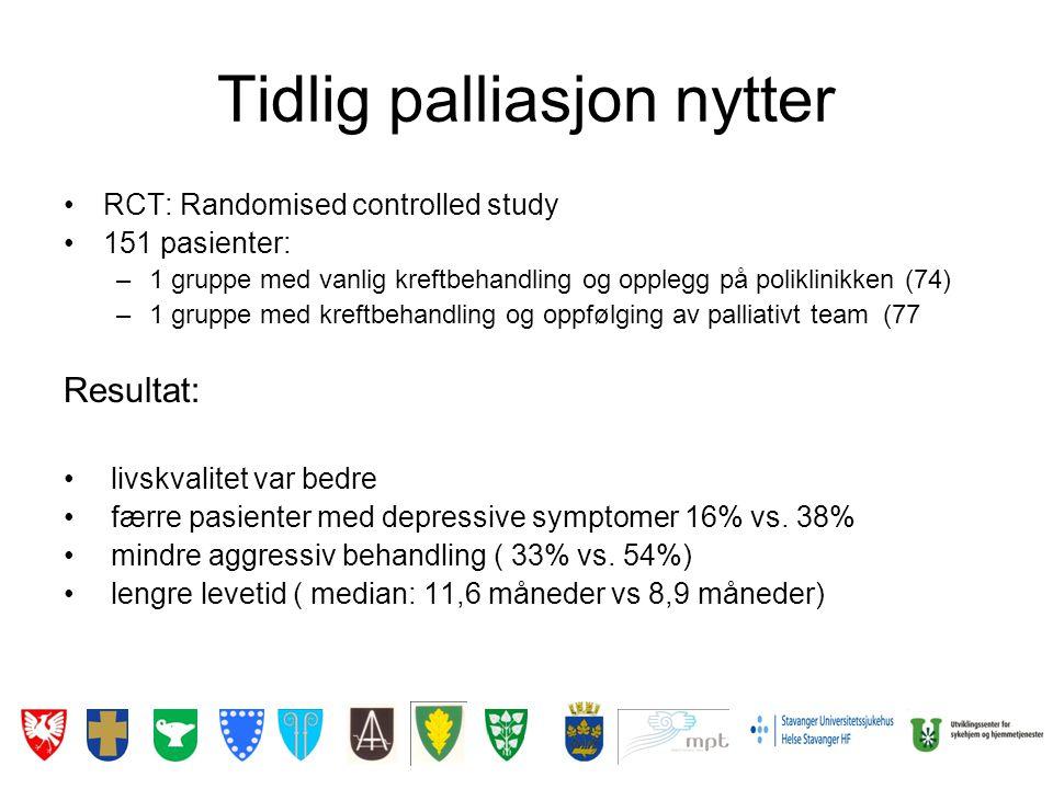 Tidlig palliasjon nytter •RCT: Randomised controlled study •151 pasienter: –1 gruppe med vanlig kreftbehandling og opplegg på poliklinikken (74) –1 gr