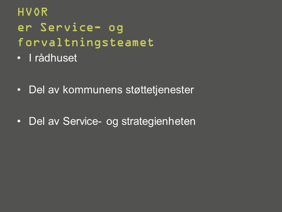Sentralt Service- og forvaltningsteam Rådmann Kommunalsjefer HR-enheten Service- og strategienheten Økonomienheten