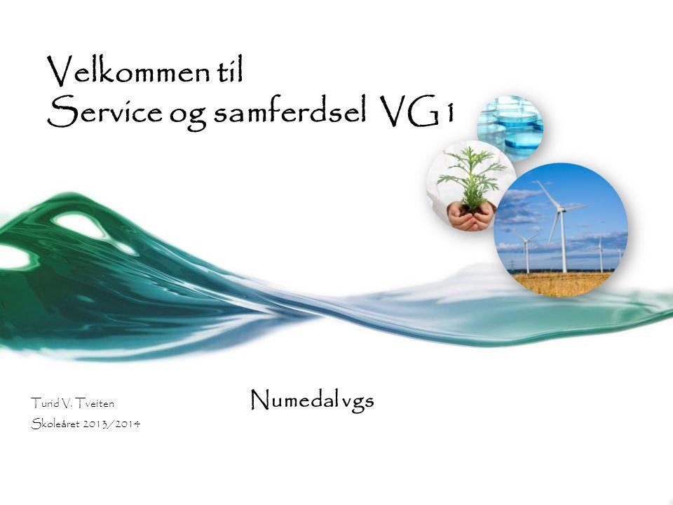 Velkommen til Service og samferdsel VG1 Turid V. Tveiten Numedal vgs Skoleåret 2013/2014