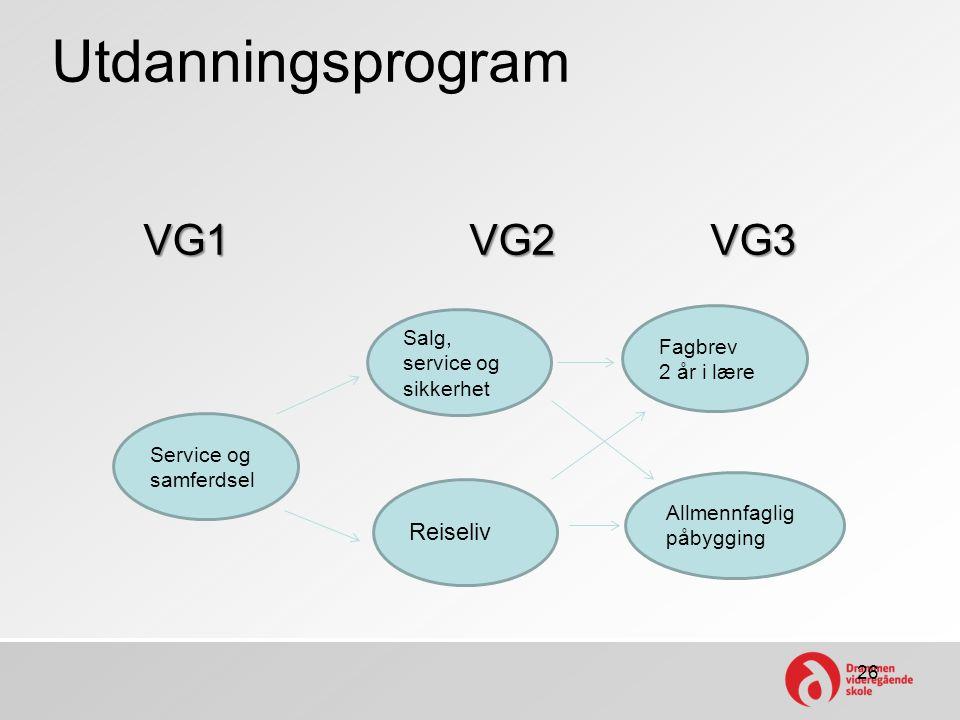 Utdanningsprogram VG1 VG2 VG3 26 Service og samferdsel Salg, service og sikkerhet Reiseliv Allmennfaglig påbygging Fagbrev 2 år i lære