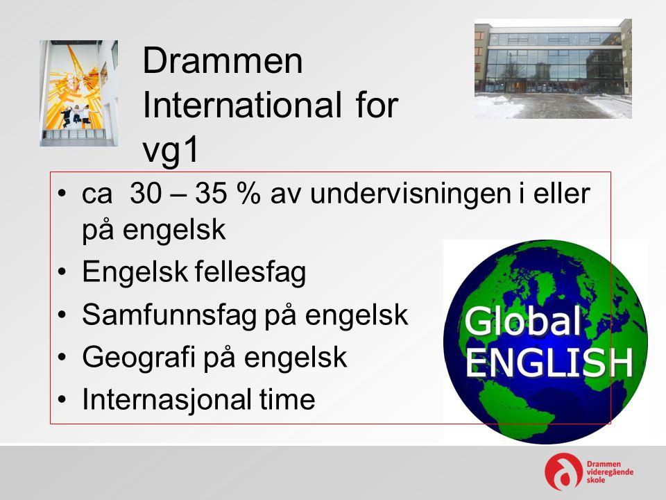 Drammen International for vg1 •ca 30 – 35 % av undervisningen i eller på engelsk •Engelsk fellesfag •Samfunnsfag på engelsk •Geografi på engelsk •Inte