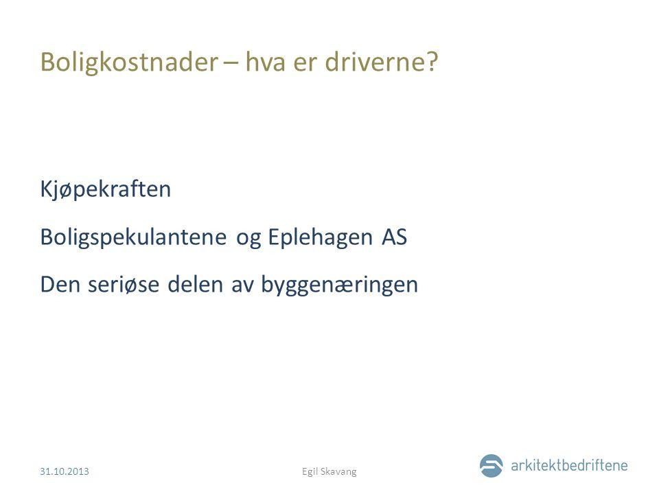 Boligkostnader – hva er driverne? Kjøpekraften Boligspekulantene og Eplehagen AS Den seriøse delen av byggenæringen 31.10.2013Egil Skavang