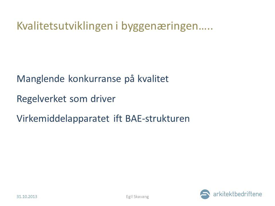Kvalitetsutviklingen i byggenæringen….. Manglende konkurranse på kvalitet Regelverket som driver Virkemiddelapparatet ift BAE-strukturen 31.10.2013Egi