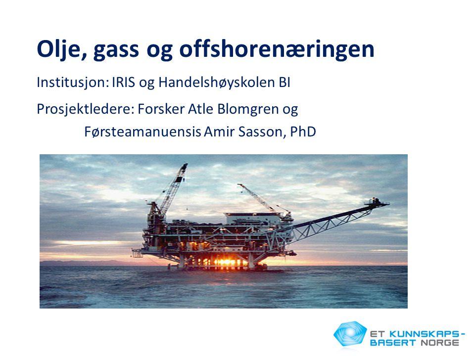 Olje, gass og offshorenæringen Institusjon: IRIS og Handelshøyskolen BI Prosjektledere: Forsker Atle Blomgren og Førsteamanuensis Amir Sasson, PhD