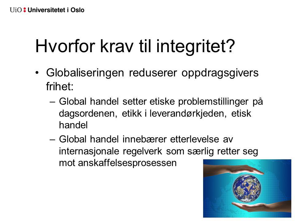 •Globaliseringen reduserer oppdragsgivers frihet: –Global handel setter etiske problemstillinger på dagsordenen, etikk i leverandørkjeden, etisk hande