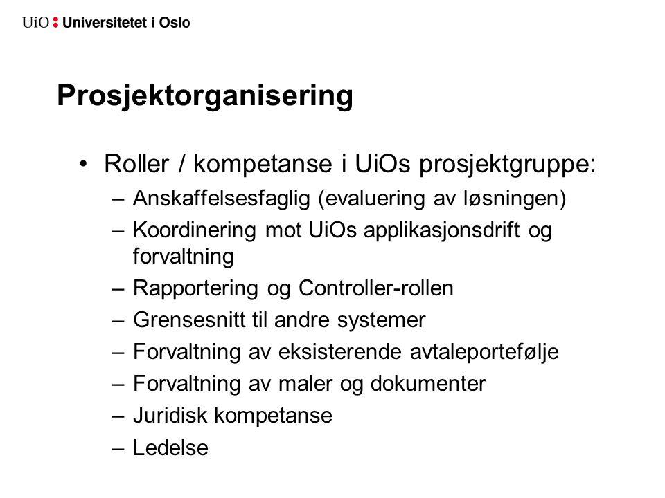 Prosjektorganisering •Roller / kompetanse i UiOs prosjektgruppe: –Anskaffelsesfaglig (evaluering av løsningen) –Koordinering mot UiOs applikasjonsdrif