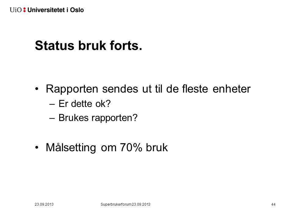 Status bruk forts. •Rapporten sendes ut til de fleste enheter –Er dette ok? –Brukes rapporten? •Målsetting om 70% bruk 23.09.2013Superbrukerforum 23.0