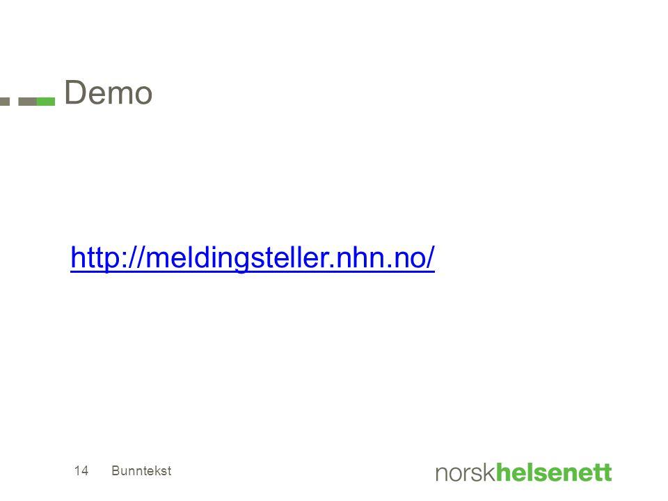 Demo http://meldingsteller.nhn.no/ Bunntekst14