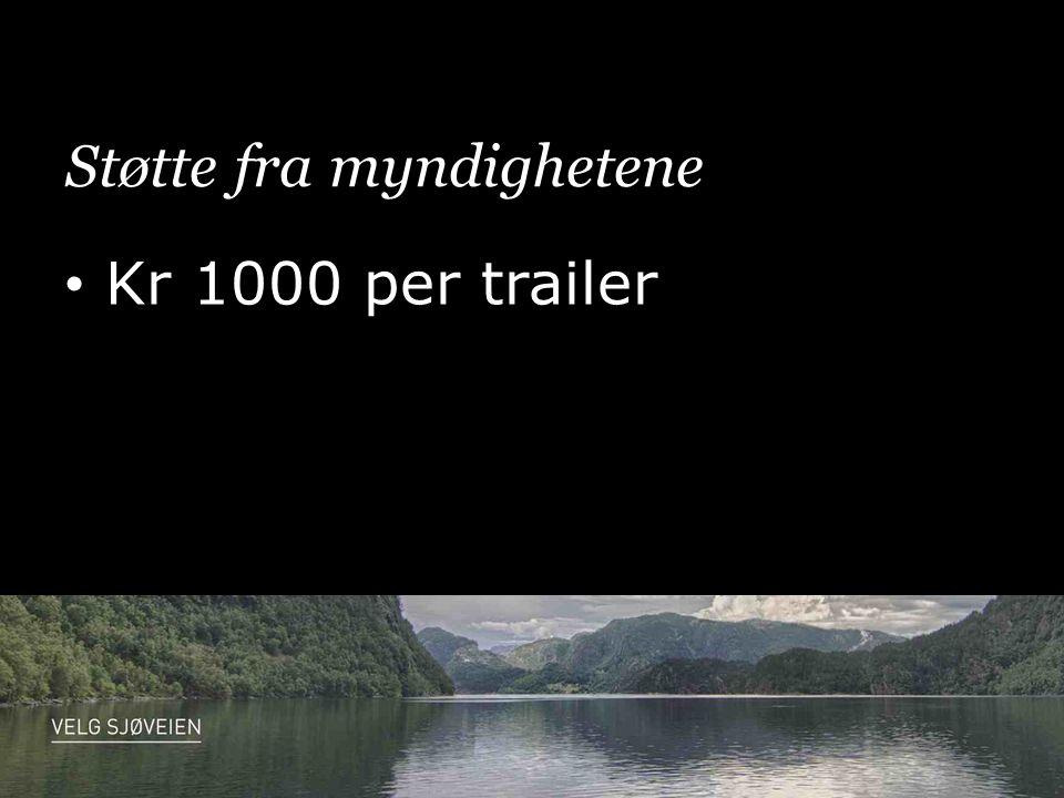 Støtte fra myndighetene • Kr 1000 per trailer