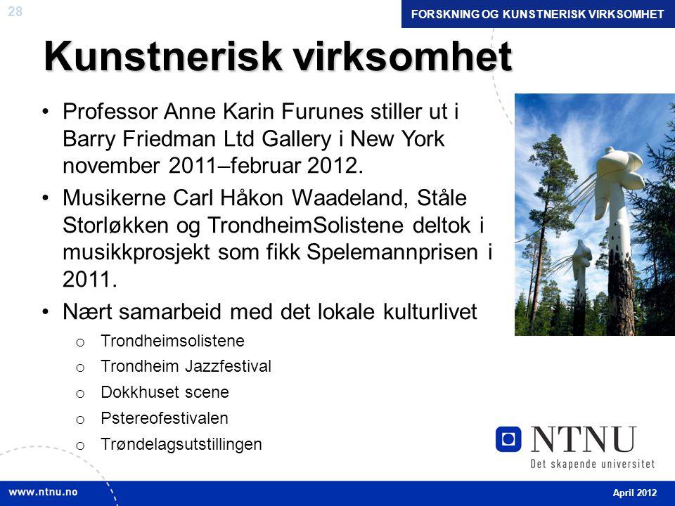 28 Kunstnerisk virksomhet •Professor Anne Karin Furunes stiller ut i Barry Friedman Ltd Gallery i New York november 2011–februar 2012.