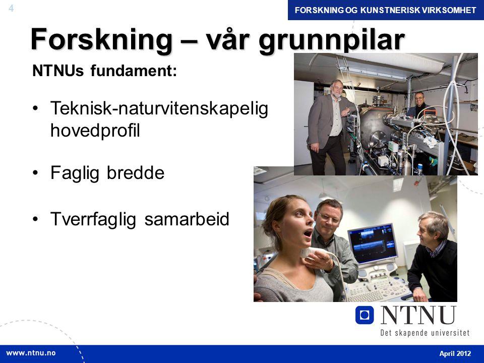 4 Forskning – vår grunnpilar NTNUs fundament: •Teknisk-naturvitenskapelig hovedprofil •Faglig bredde •Tverrfaglig samarbeid April 2012 FORSKNING OG KUNSTNERISK VIRKSOMHET