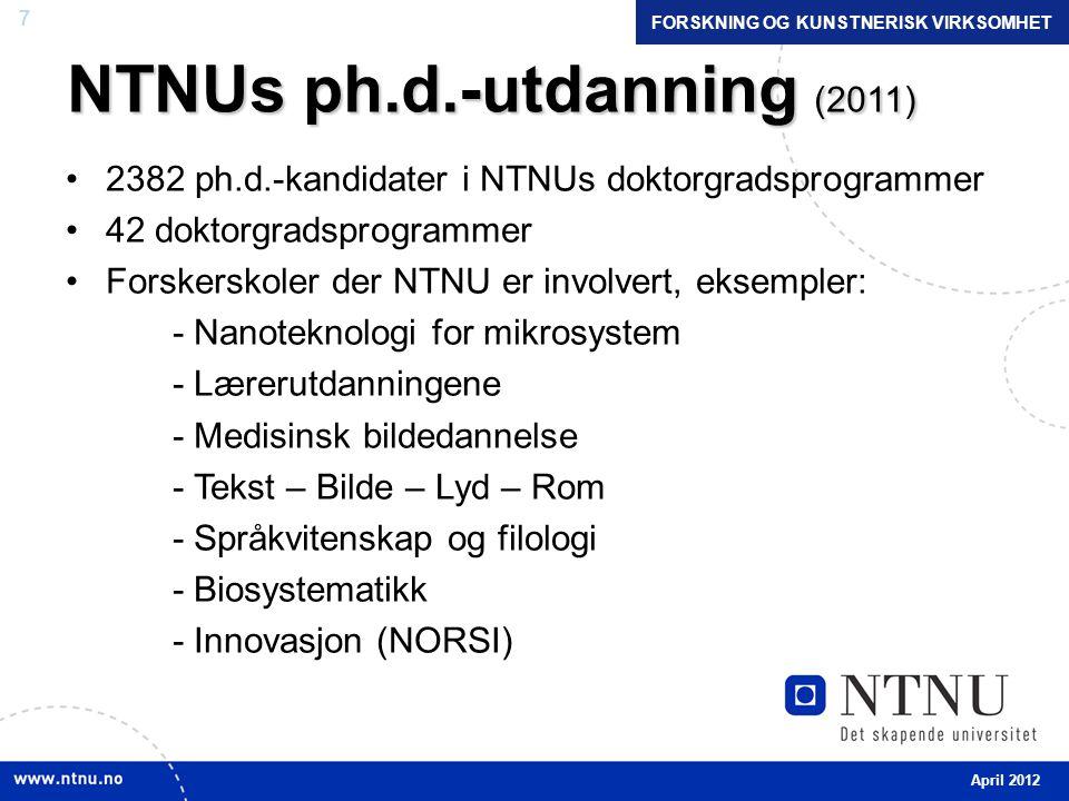 7 NTNUs ph.d.-utdanning (2011) •2382 ph.d.-kandidater i NTNUs doktorgradsprogrammer •42 doktorgradsprogrammer •Forskerskoler der NTNU er involvert, eksempler: - Nanoteknologi for mikrosystem - Lærerutdanningene - Medisinsk bildedannelse - Tekst – Bilde – Lyd – Rom - Språkvitenskap og filologi - Biosystematikk - Innovasjon (NORSI) April 2012 FORSKNING OG KUNSTNERISK VIRKSOMHET