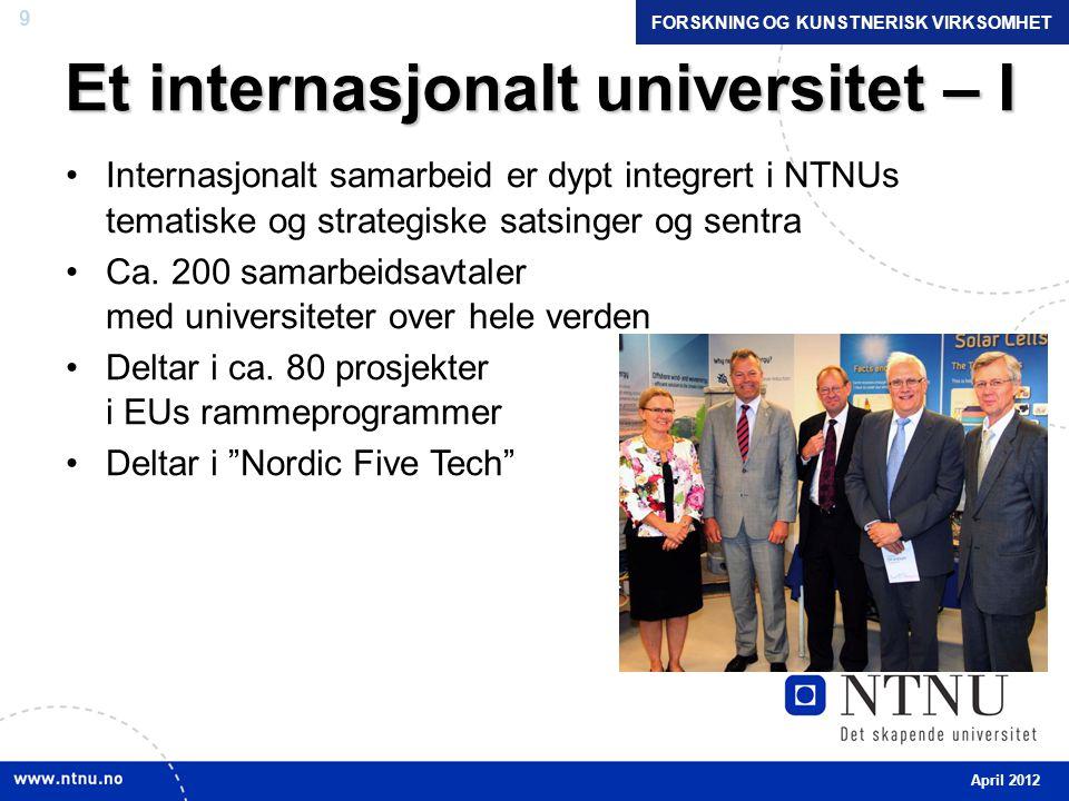 9 Et internasjonalt universitet – I •Internasjonalt samarbeid er dypt integrert i NTNUs tematiske og strategiske satsinger og sentra •Ca.