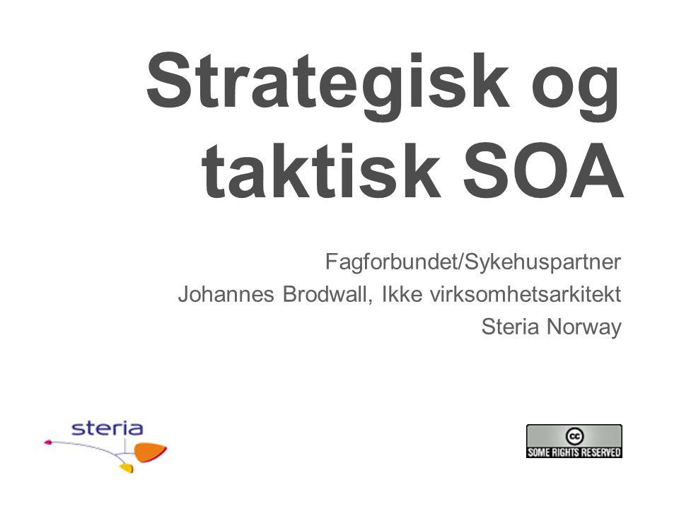 Strategisk og taktisk SOA Fagforbundet/Sykehuspartner Johannes Brodwall, Ikke virksomhetsarkitekt Steria Norway