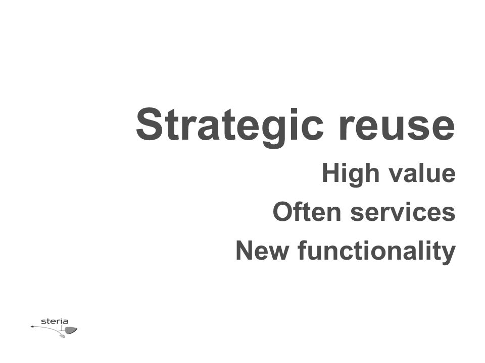 Strategic reuse High value Often services New functionality