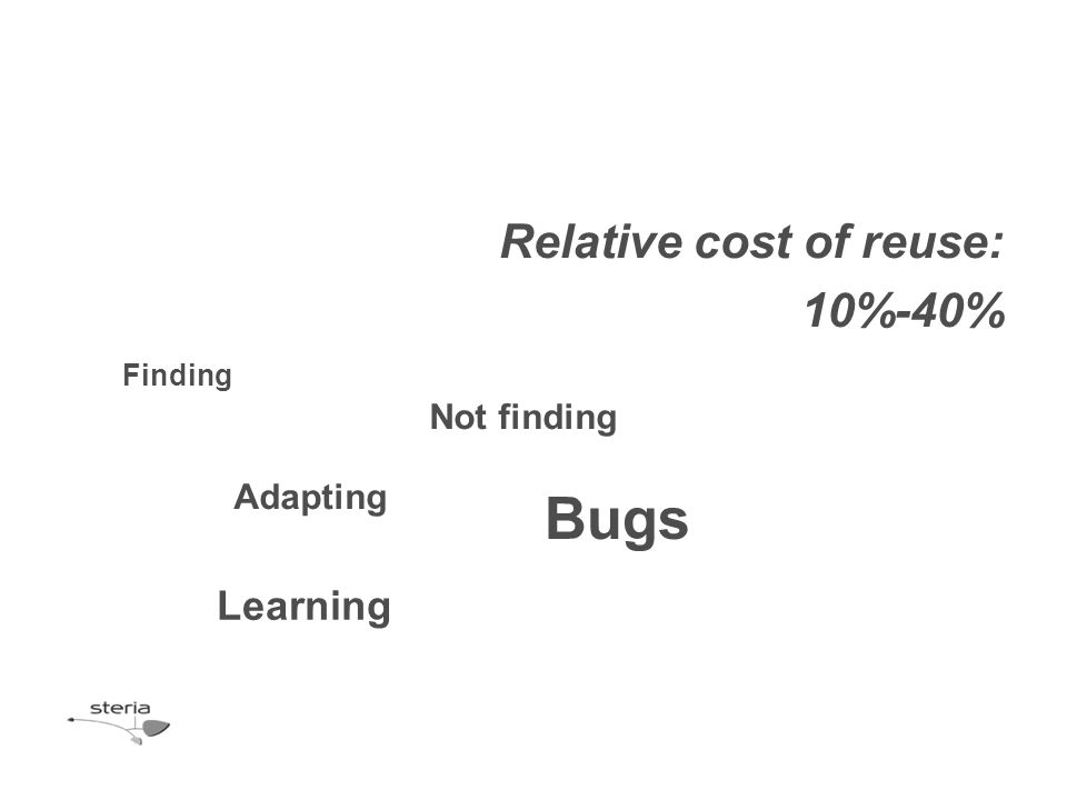 Relative cost of reuse: 10%-40% Learning Not finding Bugs Finding Adapting