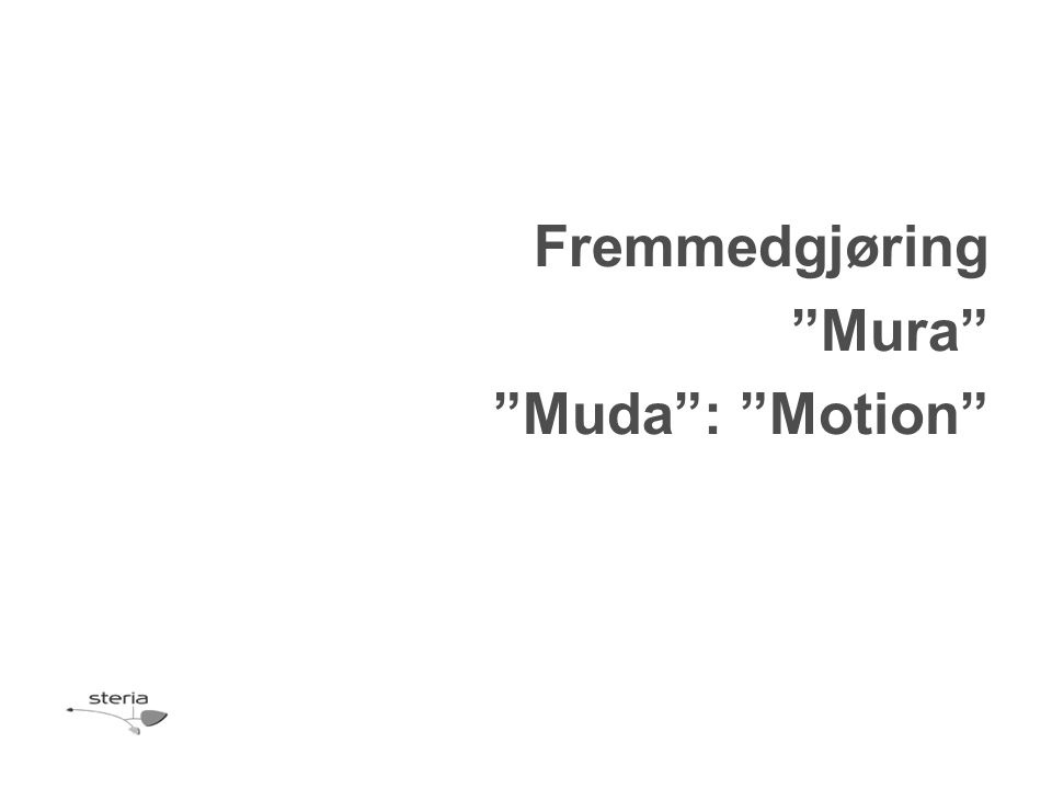"""Fremmedgjøring """"Mura"""" """"Muda"""": """"Motion"""""""