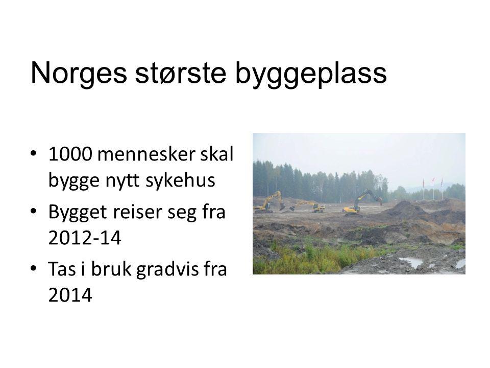 Norges største byggeplass • 1000 mennesker skal bygge nytt sykehus • Bygget reiser seg fra 2012-14 • Tas i bruk gradvis fra 2014