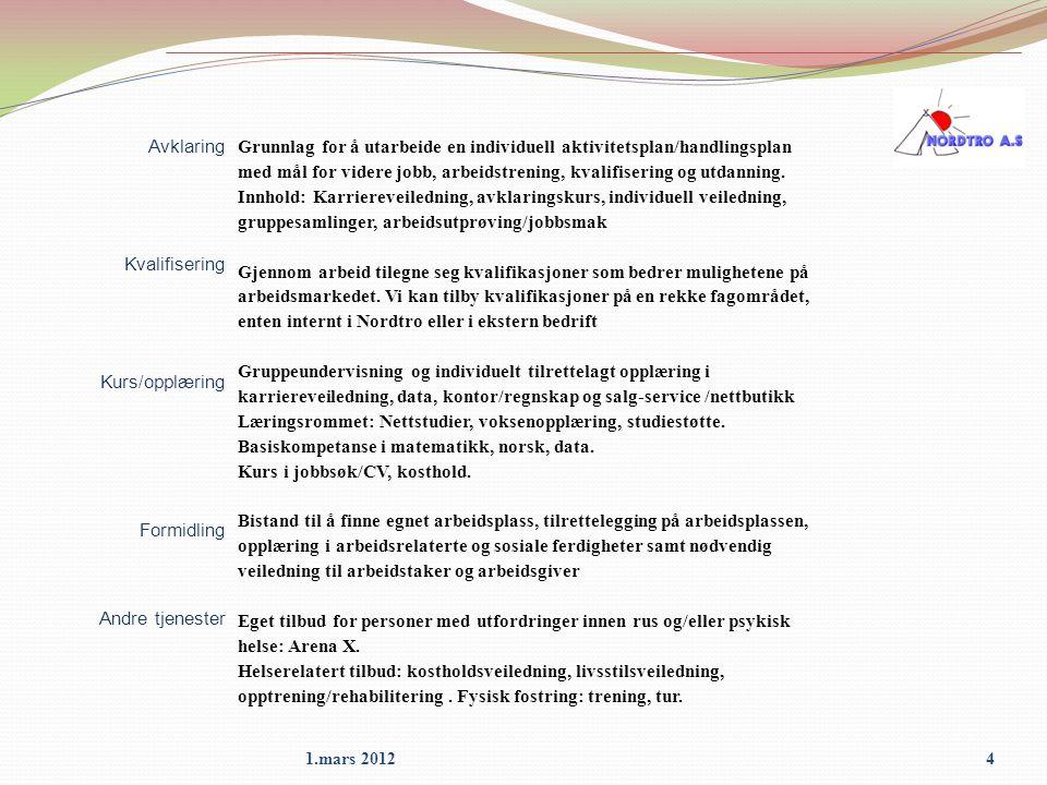 4 Avklaring Kvalifisering Kurs/opplæring Formidling Andre tjenester Grunnlag for å utarbeide en individuell aktivitetsplan/handlingsplan med mål for v
