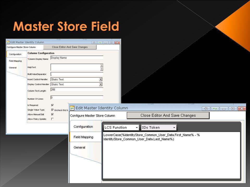 Full Støtte for LCSDL for manipulasjon og generering av data. Mapper verdier fordelt over flere Identity Stores inn til kolloner i Master Identity Sto