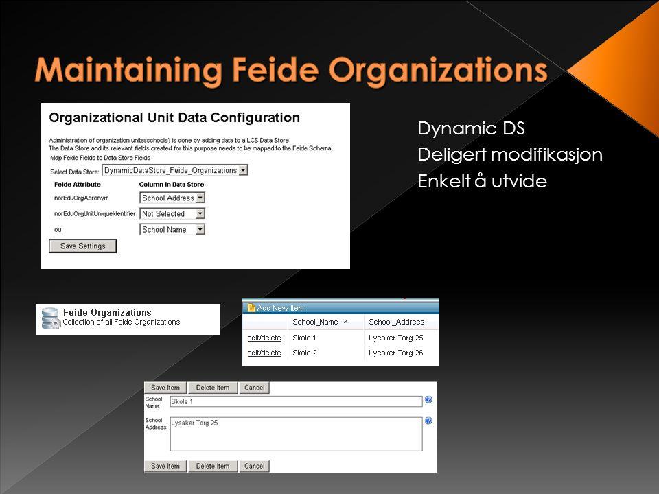 Live Schema Leser Supporterer endringer av Feide Standard.