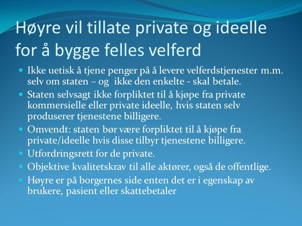 Høyre vil tillate private og ideelle for å bygge felles velferd  Ikke uetisk å tjene penger på å levere velferdstjenester m.m.