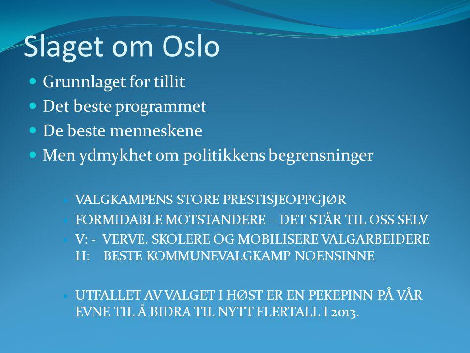 Slaget om Oslo  Grunnlaget for tillit  Det beste programmet  De beste menneskene  Men ydmykhet om politikkens begrensninger  VALGKAMPENS STORE PRESTISJEOPPGJØR  FORMIDABLE MOTSTANDERE – DET STÅR TIL OSS SELV  V: - VERVE.