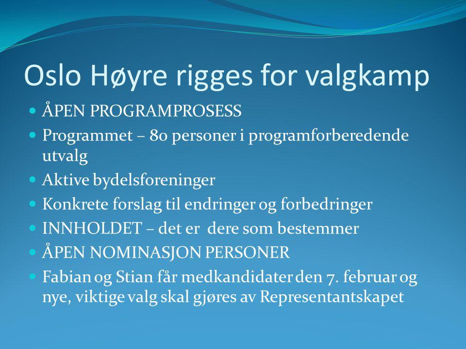 Oslo Høyre rigges for valgkamp  ÅPEN PROGRAMPROSESS  Programmet – 80 personer i programforberedende utvalg  Aktive bydelsforeninger  Konkrete forslag til endringer og forbedringer  INNHOLDET – det er dere som bestemmer  ÅPEN NOMINASJON PERSONER  Fabian og Stian får medkandidater den 7.